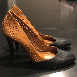BCBGeneration black and caramel leather heels 8.5